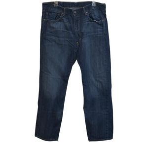 LEVIS 505 Denim Jeans 100% Cotton Zip 38x30 Dark Stonewash Blank Red Tab